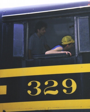 Dave and I in the cab of Nickel Plate 329, an ALCO RSD-12, in the 1990's